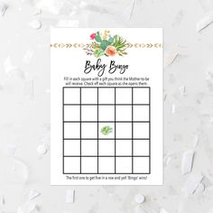 Succulent Bingo Game Printable Cactus Baby Shower Game Floral Baby Shower  Activity Pink Flowers Girl Baby