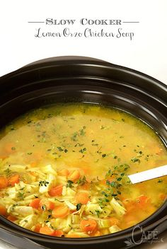 Slow Cooker Lemon Orzo Chicken Soup - for those days that you want a delicious dinner ready with minimal effort.