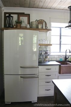 DIY Farmhouse Kitchen Makeover: All the Details - Refrigerator - Trending Refrigerator for sales. - DIY Farmhouse Kitchen Makeover: All the Details Christinas Adventures