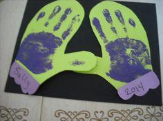 Handprints inside a mitten shape makes a great January calendar page