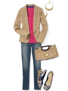 A camel blazer complements a fair complexion while providing instant weekend polish.