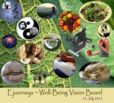 """Ejourneys, who cares for her partner and blogs on Caregiving.com, created this vision board, her """"Well-Being Vision Board."""""""