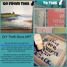 Great idea for unique DIY artwork with a canvas found for only $8.00 (as of 8/25/14) at the Carousel Shop in La Grange, IL