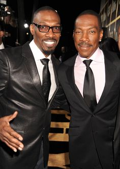 Comedians and brothers Charlie Murphy with his younger brother EddIe Murphy Sadly Charlie who was only died Wednesday April 2017 of leukemia. Black Actors, Black Celebrities, Celebs, Actors Male, The Comedian, Celebrity Siblings, Vintage Black Glamour, Eddie Murphy, Handsome Black Men