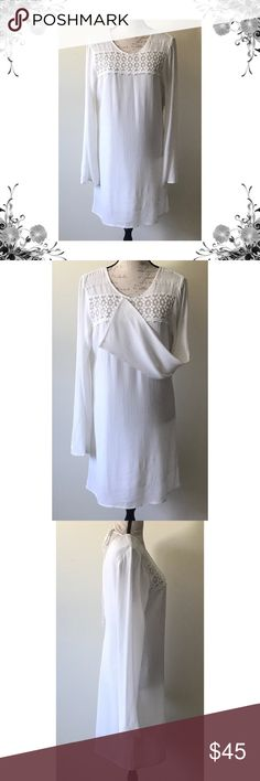 """🆕 {Billabong} Ivory Bell Sleeve Dress Chest across measures approx 18.5"""". Length is approx 35.5"""". Sleeve is approx 26"""". Bell Sleeves. Crochet detail. Ties at back of neck. Open-back. Rayon. Polyester lining. Price tag has been cut but is still intact. Bundle for discounts! 5lb bundle weight limit. Thank you for shopping my closet!  Bin Billabong Dresses"""