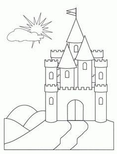 Medieval Castle Front Face Coloring Page