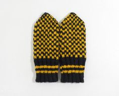 Hand Knitted Mittens  Black and Yellow Size by UnlimitedCraftworks