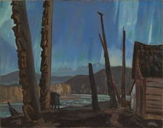 Night on the Skeena River/Totem Poles Hazelton BC A. Jackson Oil on Canvas 1927 Canadian Painters, Canadian Artists, Landscape Art, Landscape Paintings, Landscapes, Group Of Seven Paintings, Color Of Night, Tom Thomson, Emily Carr