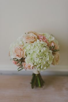 green hydrangea and pastel pink rose bouquet