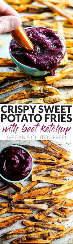 Gluten free recipe - Vegan - These extra Crispy Sweet Potato Fries dipped in tangy beet ketchup are the perfect addition to any dinner plate! A delicious vegan & gluten-free side dish. Gluten Free Sides Dishes, Vegan Side Dishes, Food Dishes, Sweet Potato Fry Dip, Crispy Sweet Potato, Vegan Snacks, Healthy Snacks, Whole Food Recipes, Cooking Recipes
