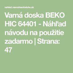 Varná doska BEKO HIC 64401 - Náhľad návodu na použitie zadarmo Branding, Math Equations