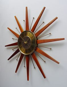 starburst wall clock mid century sunburst clock with atomic style