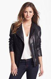 Elie Tahari 'Leah' Basket Weave Front Leather Jacket