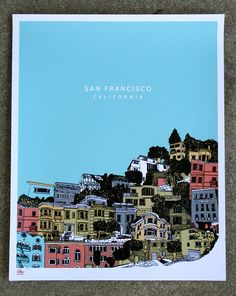 Items similar to San Francisco Silkscreen Limited Edition Art Print - hand screenprinted by Hero Design Studio on Etsy Vegas, Poster Prints, Art Prints, San Fransisco, San Francisco California, Silk Screen Printing, Vintage Travel Posters, Art Pictures, Illustrations Posters