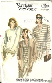 Vogue 9971 Misses Stretchy Comfy Cardigan & Pullover Sweater Sewing Pattern Size 14-18
