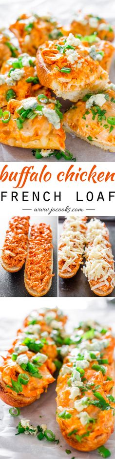 Buffalo Chicken French Loaf - a delicious French baguette loaded with buffalo chicken, cheese and baked to perfection. A perfect snack for the Super Bowl. French Loaf, French Baguette, Appetizer Recipes, Dinner Recipes, Appetizers, Boite A Lunch, Cooking Recipes, Healthy Recipes, Yummy Recipes
