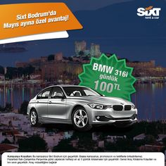 Sixt Bodrum'da BMW316i marka aracı günlük 100 TL'ye kiralayabilirsiniz. Bu özel avantajı kaçırmayın :)  www.sixt.com.tr #araçkirala #kiralıkaraç #sixt #rentacar