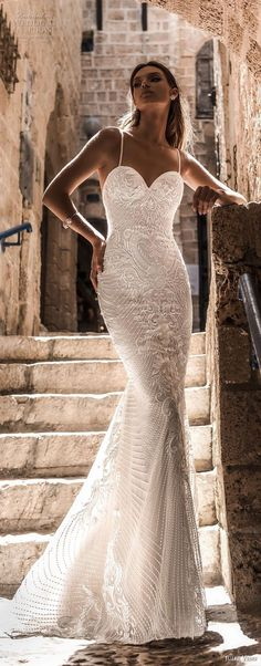 julie vino 2018 bridal spaghetti strap sweetheart neckline full embellishment elegant sexy fit and flare sheath wedding dress sweep train (56) lv -- Romanzo by Julie Vino 2018 Wedding Dresses