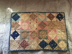 Late century doll quilt in the very best shades of blues, browns and mustard. This quilt had the best look and condition is excellent! Old Quilts, Antique Quilts, Scrappy Quilts, Small Quilts, Mini Quilts, Vintage Quilts, Baby Quilts, Crib Quilts, Primitive Quilts