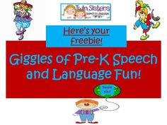 FREEBIE SPEECH AND LANGUAGE GIGGLES OF FUN PACKET FOR NEW FOLLOWERS! Come follow us and leave a comment to help us make our blog even better!  From: Twin Sisters Speech and Language Therapy