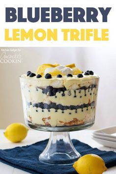 Juicy blueberries and bright lemon pudding combine in a stunning dessert. This m… Juicy blueberries and bright lemon pudding combine in a stunning dessert. This mouthwatering lemon blueberry trifle is impressive yet incredibly easy! Mini Desserts, Pudding Desserts, Summer Desserts, Easy Desserts, Pudding Cake, Pudding Recipe, Easy Trifle Recipe, Fruit Trifle Desserts, Triffle Recipe