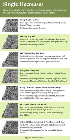 Types of Knitting Decreases, from #yarnschool by Over the Rainbow Yarn.