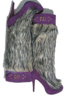 Christian Louboutin purple leather high heel fur boot