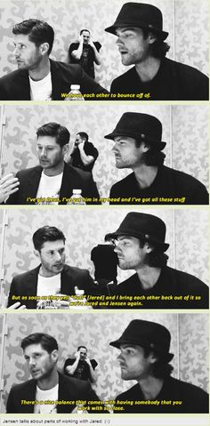 [GIFSET] SDCC14. Jensen talks about the perks of working with Jared.