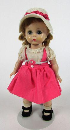 """Vintage 1950's """" Madame Alexander-kins """" Hot Pink Dress Bend Knee 8"""" Alex Doll #Dolls"""