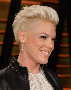 Pink!  I just love everything about her. Especially her hair, and this cut!