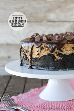 Rich and decadent, this peanut butter cheesecake is filled with Reese's Peanut Butter Cups then topped with a chocolate ganache and more peanut butter cups.