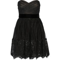 Marchesa Notte Sequin-embellished tulle dress ($425) ❤ liked on Polyvore featuring dresses, marchesa, black, loose fitting dresses, fitted cocktail dresses, sequin cocktail dresses, loose fit dress and tulle dress