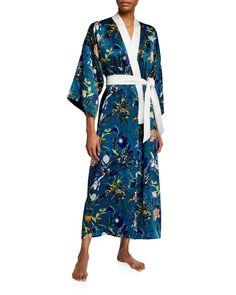 Olivia Von Halle Queenie Heaven Long Silk Robe In Blue Pattern Silk Robe Long, Silk Kimono Robe, Long Kimono, Olivia Von Halle, Lace Cuffs, Half Sleeves, World Of Fashion, Wrap Dress, Clothes For Women