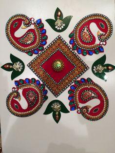 Rangoli Design  Peacock Floor Art With by DiwaliToranAndDiyas