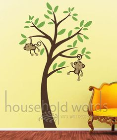 Monkey Wall Decals with Jungle tree  nursery by HouseHoldWords