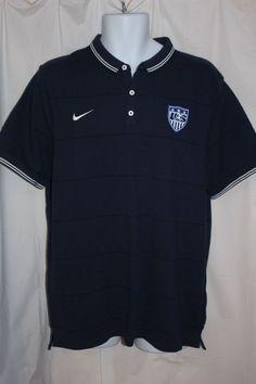 Men's Nike USA Team Soccer Blue Black Stripe Polo Shirt Size XL NWT Short Sleeve #Nike #ShirtsTops