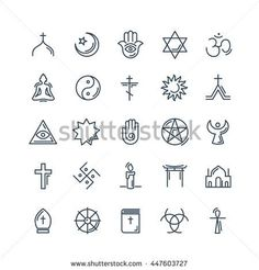 Vector religion icons set thin style