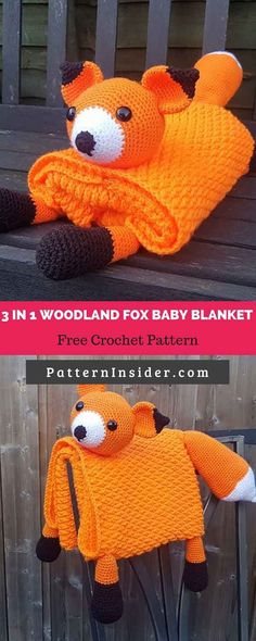 Free Crochet in 1 Woodland Fox Baby Blanket Toy Lovey by Crafting Happiness , freecrochetpattern Modern Crochet Blanket, Crochet Baby Blanket Beginner, Crochet Blanket Patterns, Baby Knitting, Crochet Blankets, Baby Blankets, Crochet Fox, Crochet Bebe, Free Crochet