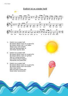 """Sommerlied für heißes Wetter - """"ENDLICH IST ES WIEDER HEISS"""" - Shop: www.kitakiste.jimdo.com"""
