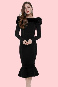 c823a86973e1 Black Fur Trim Long Sleeves Mermaid Bandage Dress – iulover Pencil Dress