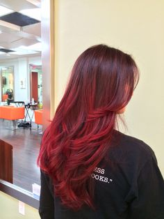 Red balayage ombre Balayage by Emilee @hairb0rn Miami stylist