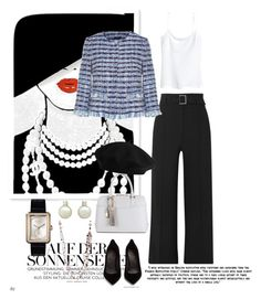 """Mademoseille"" by hiru-ha on Polyvore featuring Oliver Gal Artist Co., Veronica Beard, H&M, Maison Margiela, Chanel, french, blackandwhite and pearls"