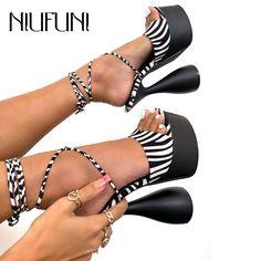 Peep toe rendas até 16cm estrangeiro super salto alto sandálias femininas tamanho 35-42 gladiador sapatos femininos tiras de tornozelo sandálias preto sexy #shoes #saltosaltos #sandalias #peeptoe #aliexpress