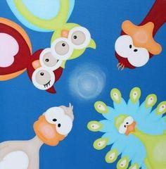 Geboortekaartje met dieren. De goedkoopste geboortekaartjes online ontwerpen en bestellen via http://www.geboortepost.nl/geboortekaartjes/cartoons/half-a-zoo-on-blue-vk.html