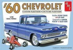 AMT 1063 Unbuilt 1960 Chevrolet Chevy Fleetside Pickup With Go Kart Model Kit for sale online Model Cars Kits, Kit Cars, Car Kits, Pick Up, Go Kart Parts, Plastic Model Cars, Chevy Pickups, Pickup Trucks, Scale Models