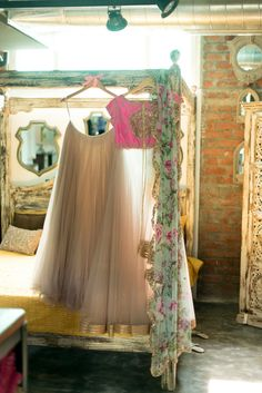 Pink and Mint lehenga by Anushree Reddy | #beachoutfit #florallehenga #indianweddingoutfit