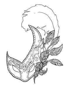 Mardi Gras Adult Coloring Book Digital Download Downloadable Pages Mask T