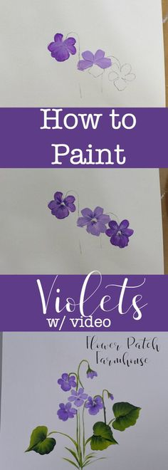 How to paint Violets one stroke at a time.  An easy painting tutorial for everyone, even beginning painters. A video is included to make it even easier!  via @FlowerpatchPam