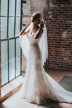 Timeless Wedding with Lush Greenery & Soft Colors: Style 2292 Sedona Strapless Lace Wedding Dress, Wedding Gowns, Casablanca Bridal Gowns, Timeless Wedding, Scalloped Lace, Bridal Boutique, Fit And Flare, Bride, Soft Colors