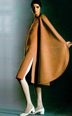 French fashion 1960's, mode, Haute couture, Paris, Model wearing Pierre Cardin, 1960s.